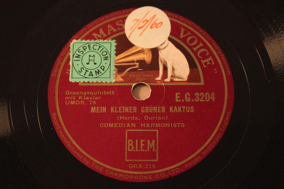 comedian harmonists mein kleiner gr ner kaktus 15th nov 1934 hmv 78rpm rarity ebay. Black Bedroom Furniture Sets. Home Design Ideas